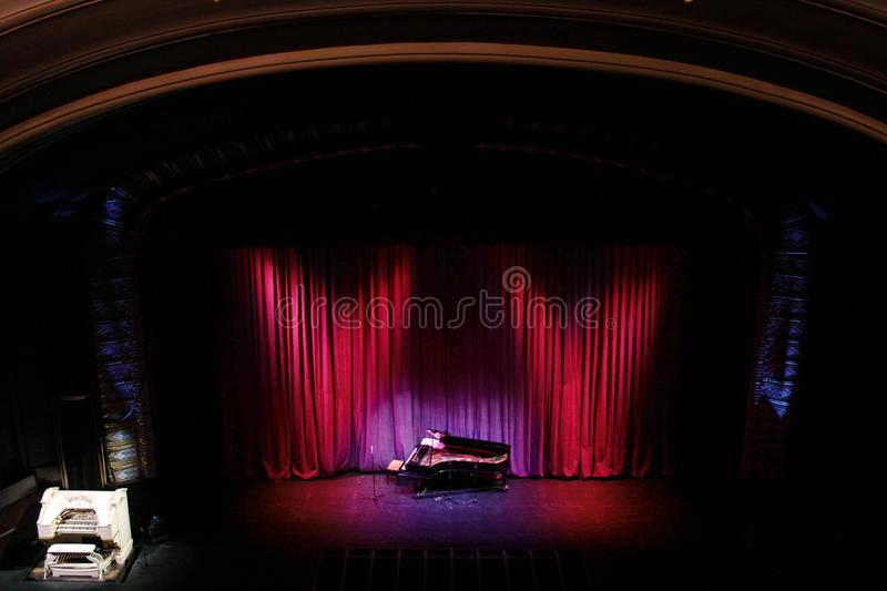 Blackpool Opera House. Set up for a theatre organ concert on it`s historical Mighty Wurlitzer Organ stock images