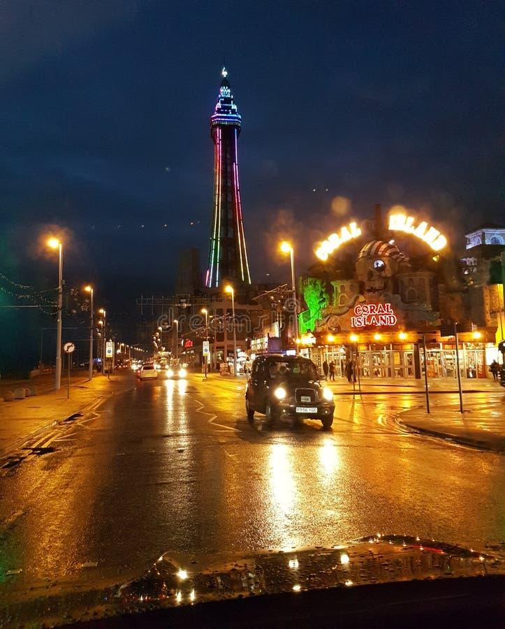 Blackpool Pleasure Beach night england uk taxi road royalty free stock photo