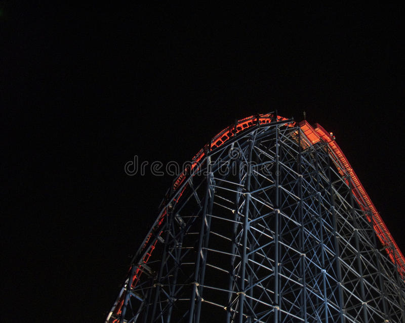 Blackpool - Rollercoaster at night stock photography