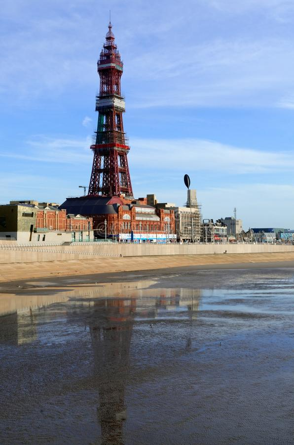 Blackpool Tower and Beach at Low Tide royalty free stock photos