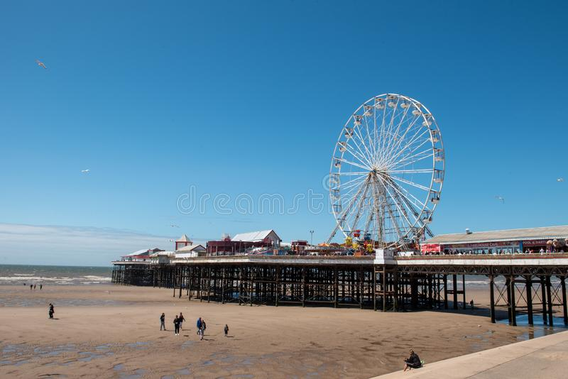 BLACKPOOL, UK, JUNE 30 2019: A photograph documenting the ferris wheel on the Central Pier at Blackpool royalty free stock photos