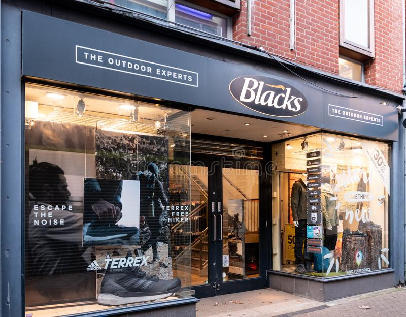Blacks shop Reading. Reading, United Kingdom - March 17 2019:   The entrance to Blacks outdoor activity store on Chain Street stock photo