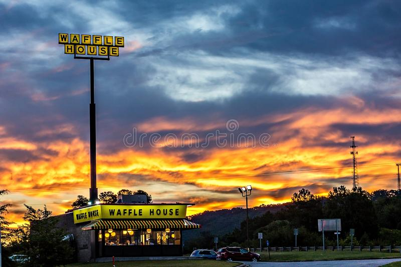 Blacksburg, SC - October 2, 2016: A Waffle House in Blacksburg S. C. Waffle House Inc. is a restaurant chain with over 1700 locations found in 25 states in the stock photo