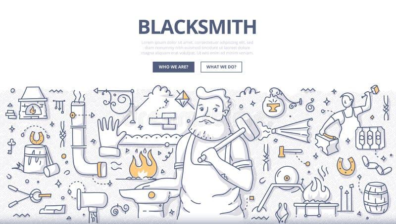 Blacksmith Doodle pojęcie ilustracja wektor