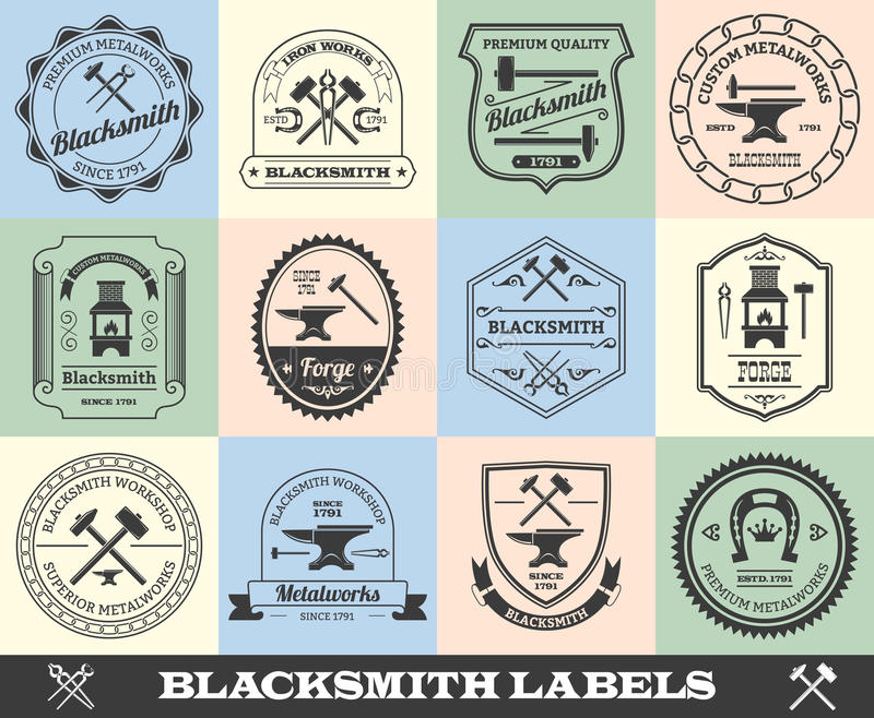 Blacksmith etykietki set royalty ilustracja