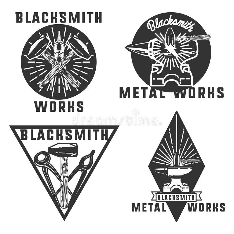 Blacksmith graphic vintage emblems. Set of vector blacksmith related logos. Blacksmith, metal works badge, logo, design elements, emblems, signs, symbols, labels stock illustration