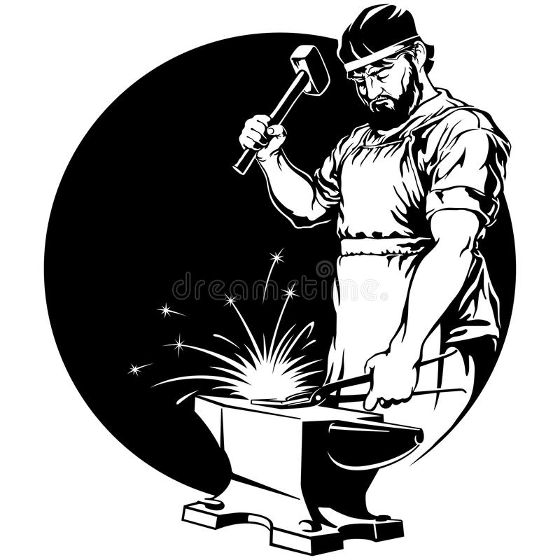 Vector Illustration Hammer: Blacksmith With Hammer Vector Illustration Stock Vector