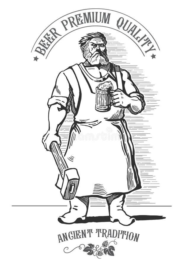 Blacksmith i piwo royalty ilustracja