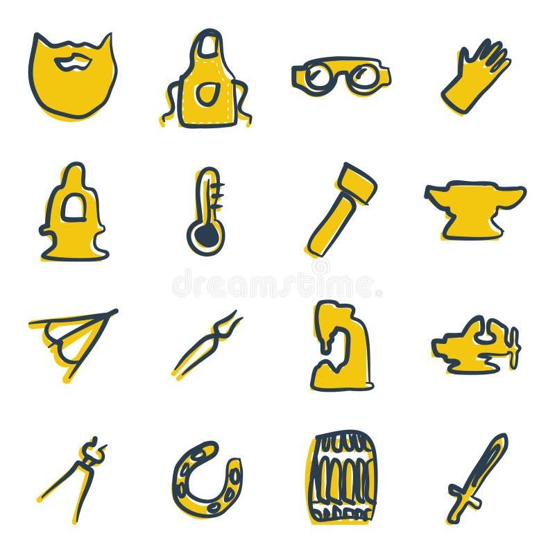 Blacksmith ikon Freehand 2 kolor ilustracji
