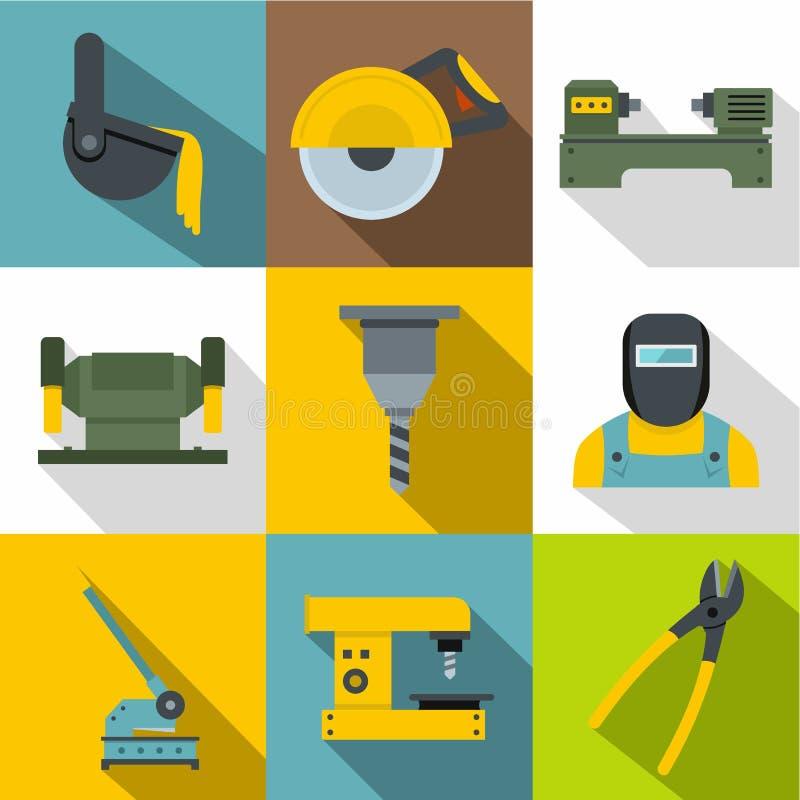 Blacksmith ikony ustawiać, mieszkanie styl ilustracji
