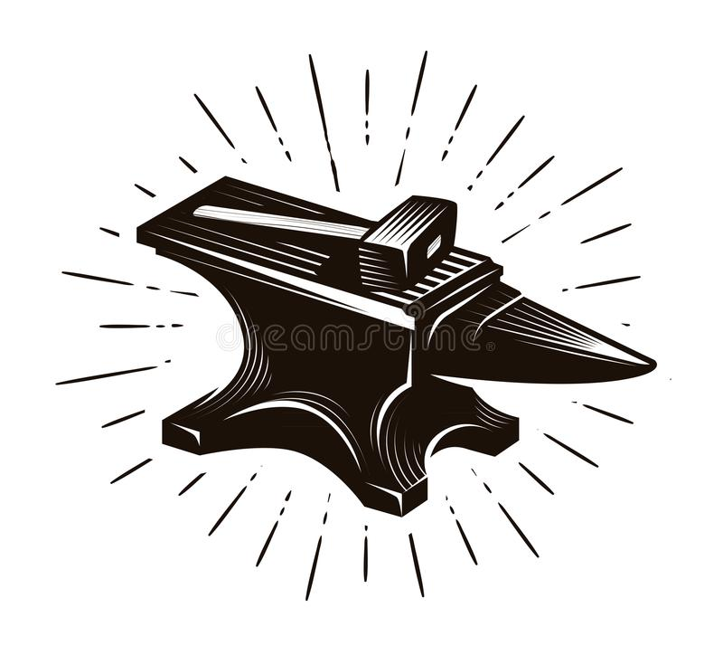 Blacksmith, kuźnia Kowadło i młot, wektorowa ilustracja ilustracji