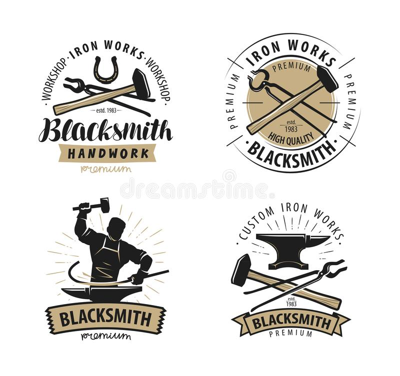 Blacksmith, kuźnia logo lub etykietka, Blacksmithing, żelazo pracy symbol wektor ilustracja wektor