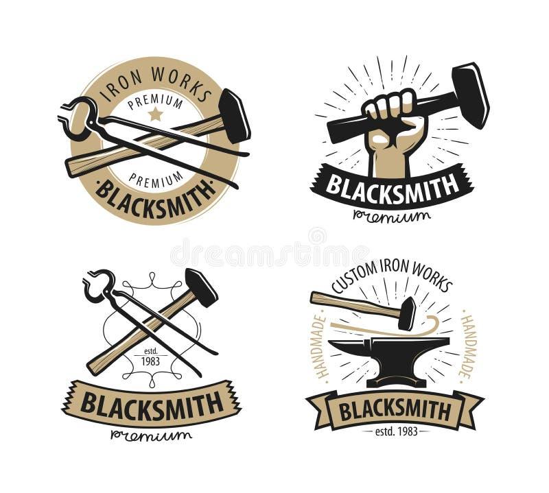 Blacksmith, kuźnia logo lub etykietka, Warsztat, żelazo pracy symbol również zwrócić corel ilustracji wektora ilustracja wektor