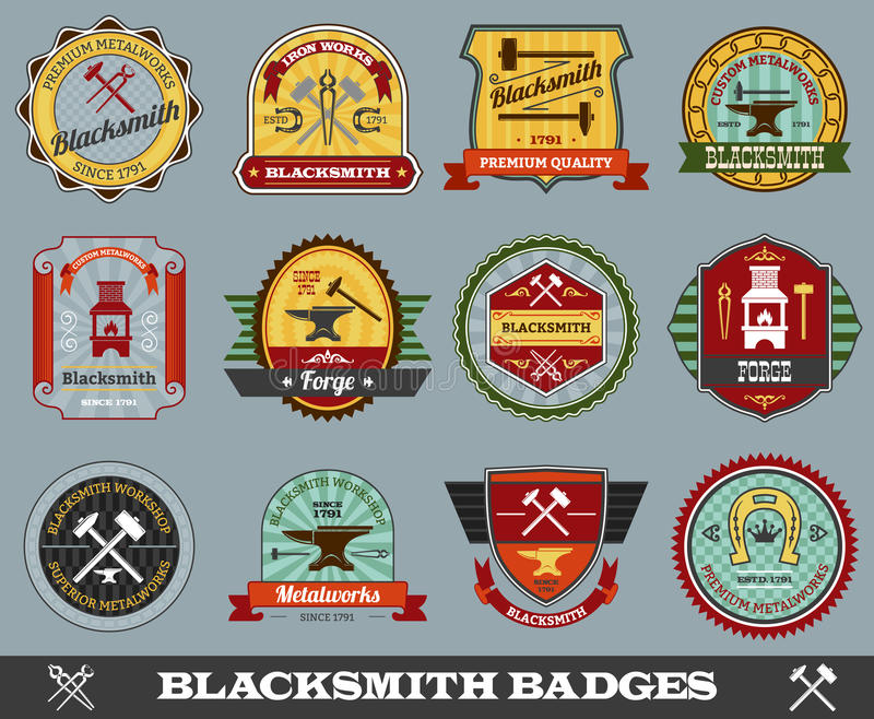 Blacksmith odznaki Ustawiać ilustracja wektor
