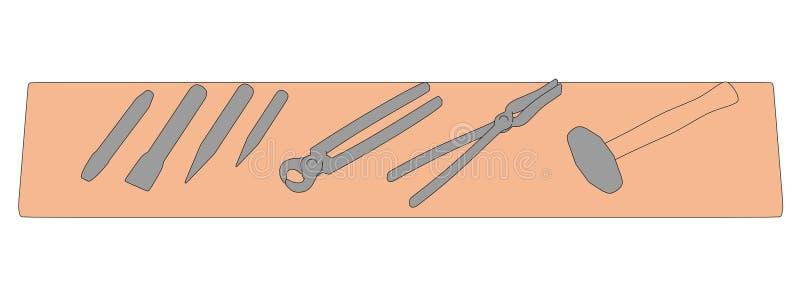Blacksmith półka z narzędziami royalty ilustracja