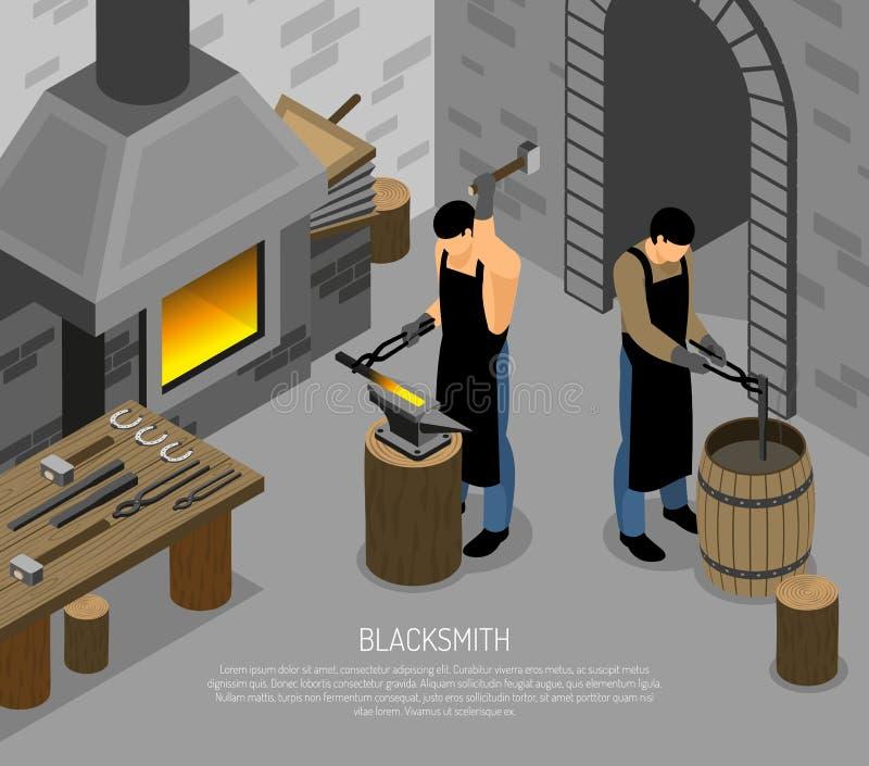 Blacksmith pracy Isometric ilustracja royalty ilustracja