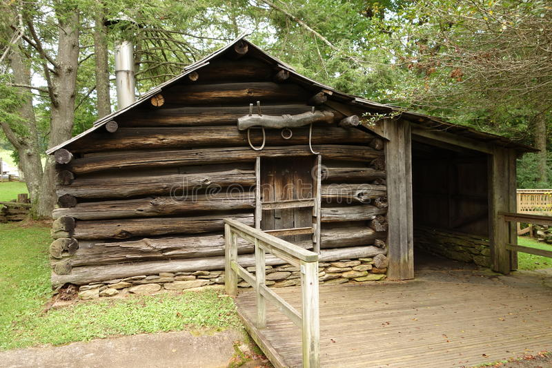 A blacksmith's building from pioneer days stock photos