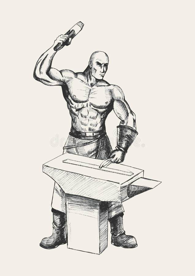 Blacksmith. Sketch illustration of a blacksmith, symbolize of determination royalty free illustration
