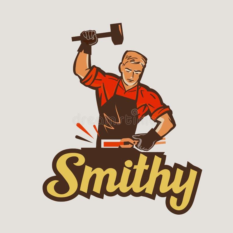 Blacksmith, smithy również zwrócić corel ilustracji wektora ilustracja wektor