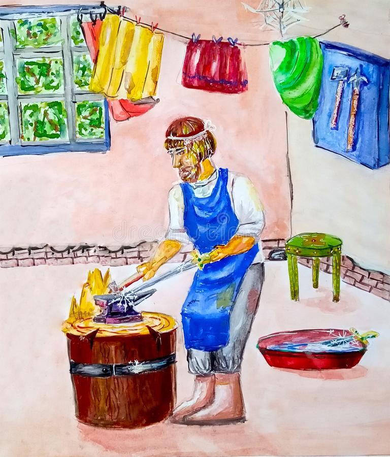 The blacksmith in the smythy forges a sword on the anvil with a hammer. Vintage. Middle Ages. Watercolor. Painted royalty free illustration