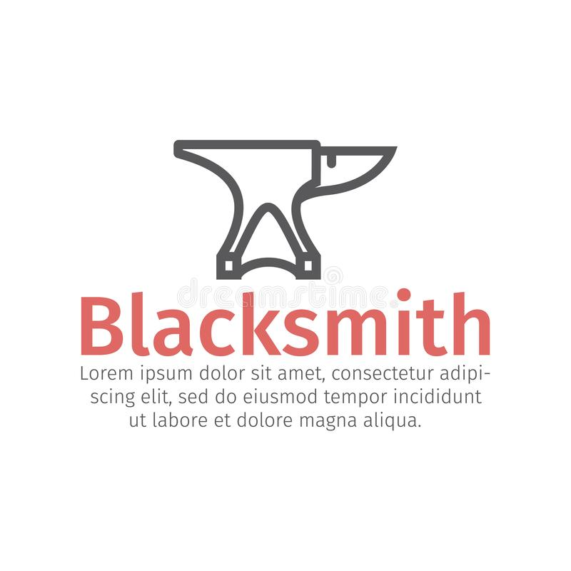 Blacksmith wektoru ikona Kowadła i młota linii znak ilustracja wektor