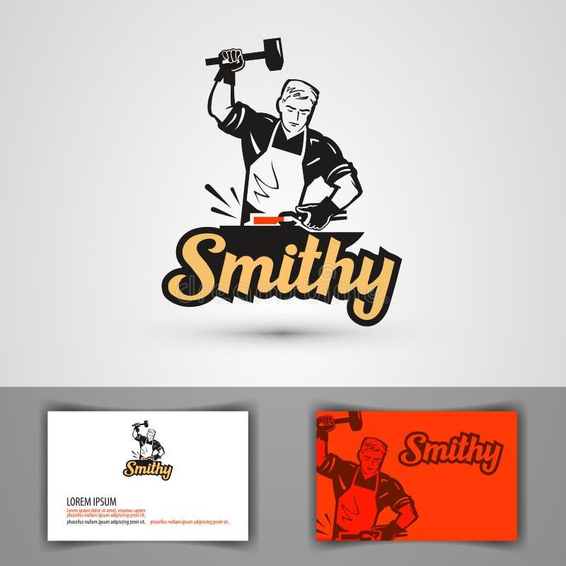 Blacksmith wektoru logo kuźni lub skucia ikona royalty ilustracja