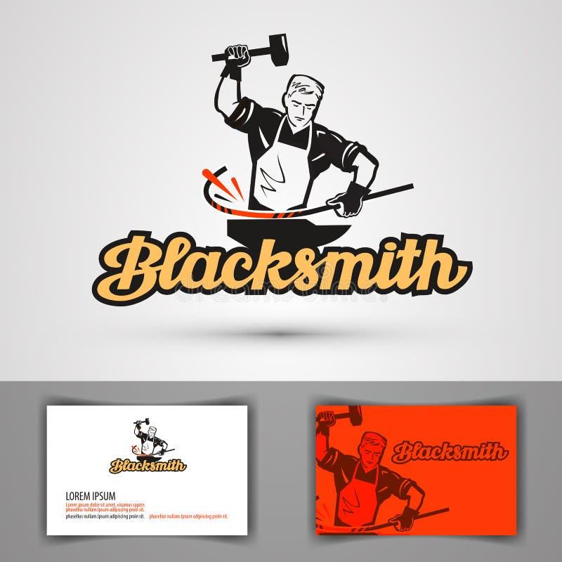 Blacksmith wektoru logo smithy, konował, kuźni ikona ilustracji
