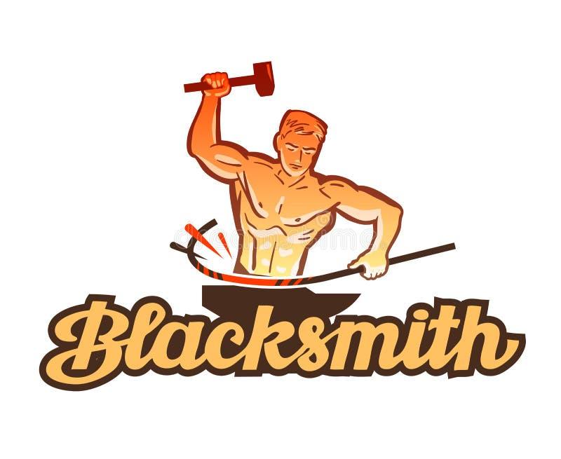 Blacksmith wektoru logo smithy, przemysł ikona ilustracji