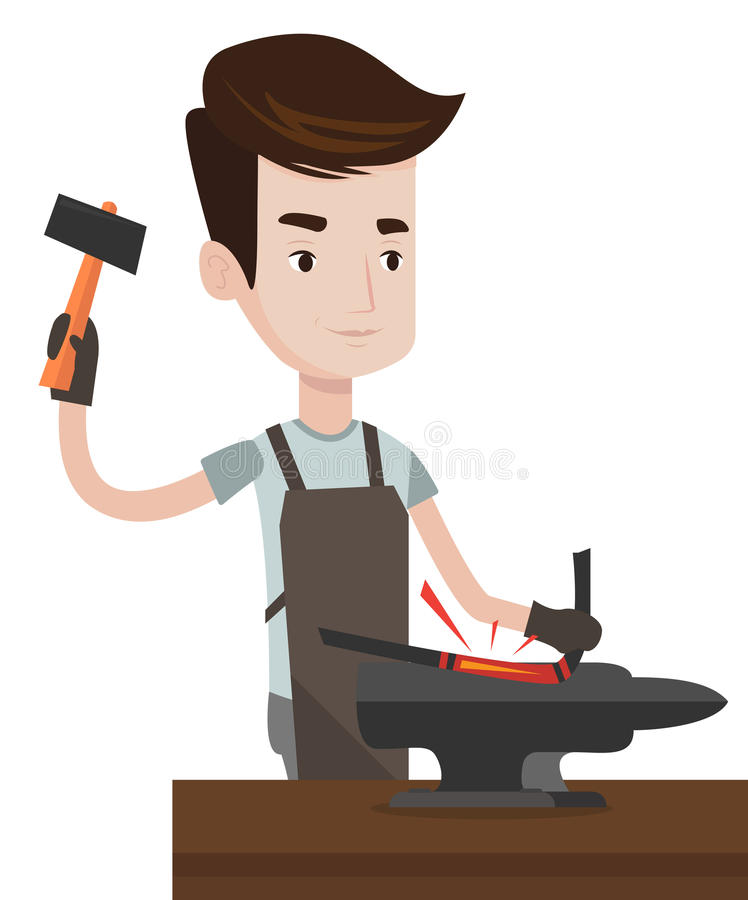 Blacksmith working metal with hammer on the anvil. stock illustration