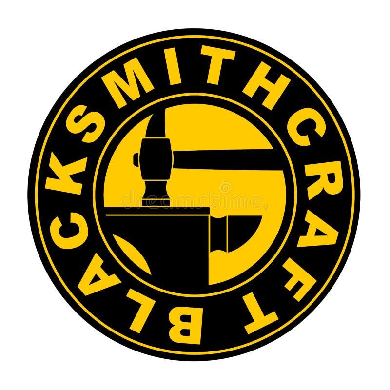 Blacksmithing-Emblem Logo für Schmiede Bearbeitetes Eisen Hammer und stock abbildung