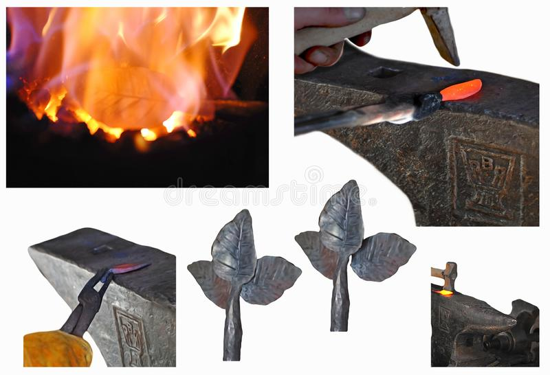 Blacksmithing Lesson Step by Step royalty free stock photography