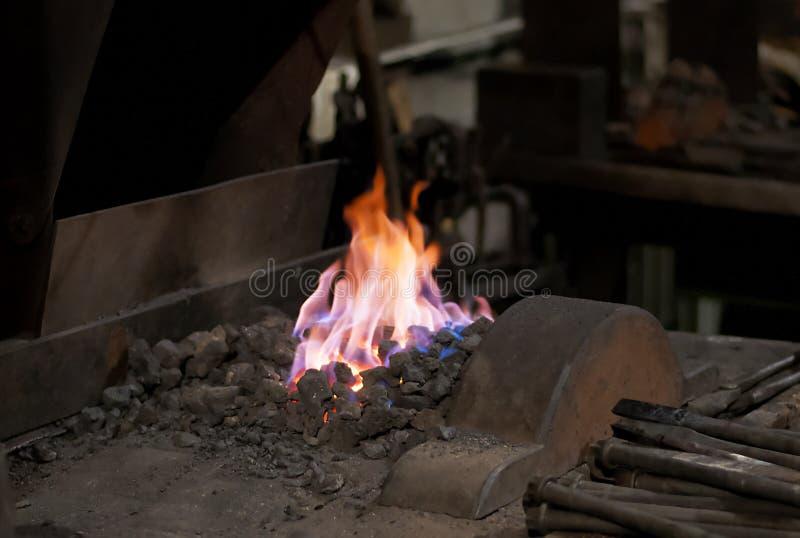 Blacksmiths ogień fotografia stock