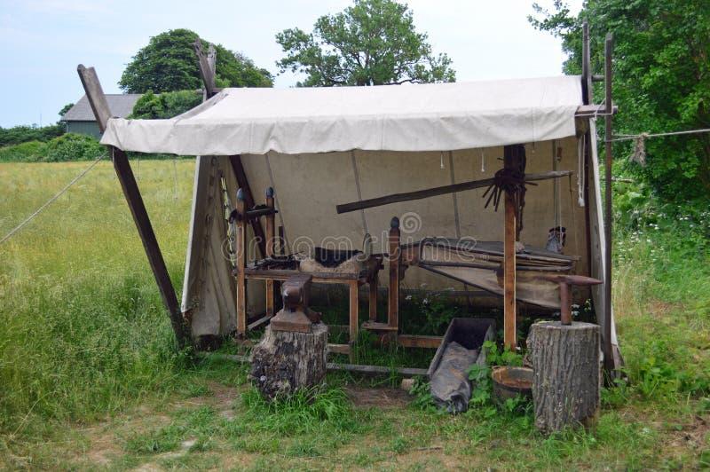 Blacksmiths at Viking Museum at Ladby stock photo