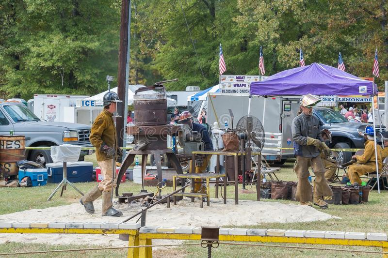 Blacksmiths` Working At The Festival. stock photo