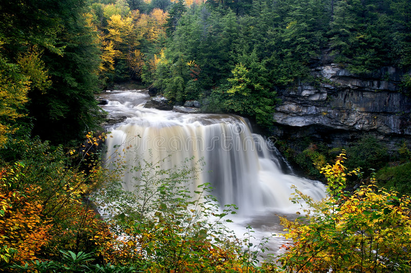 Blackwater Falls, West Virginia, in Autumn. Beautiful Blackwater Falls, in West Virginia, taken after heavy rains in autumn stock images