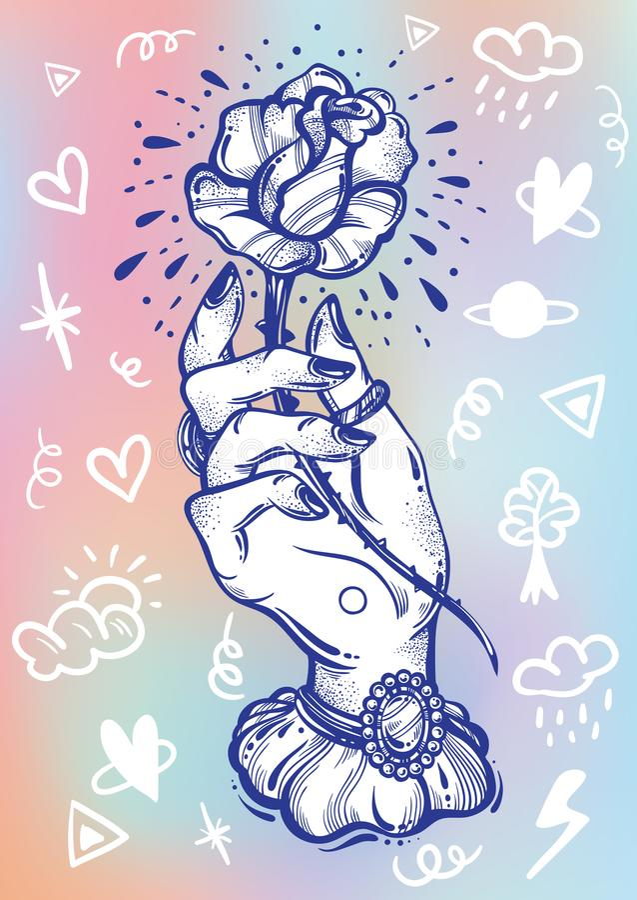 Blackwork纹身花刺闪光 葡萄酒妇女的手藏品上升了花 乱画标志 黑暗的浪漫史 高详细的传染媒介艺术品 库存例证