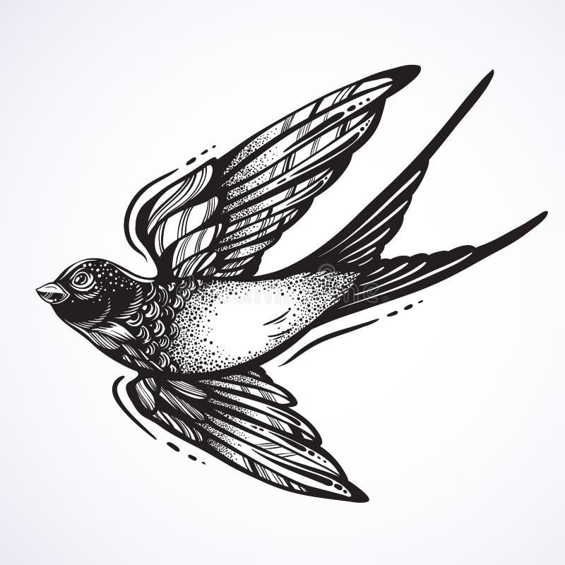 Blackwork tattoo flash. Beautifully detailed flying swallow bird. Vintage retro style design. Isolated vector illustration. stock illustration