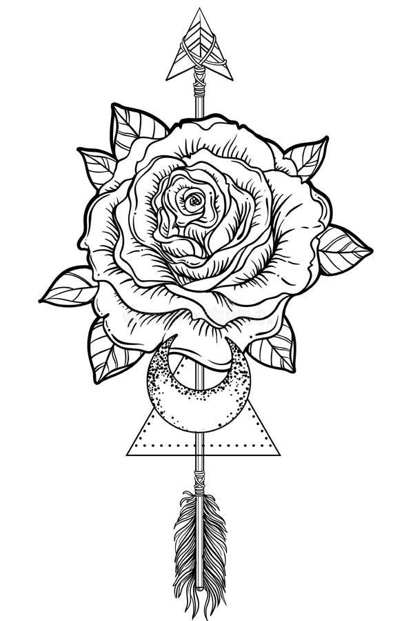 Blackwork tattoo flash. Rose flower, arrow and moon. Highly detailed vector illustration isolated on white. Tattoo design, mystic stock illustration