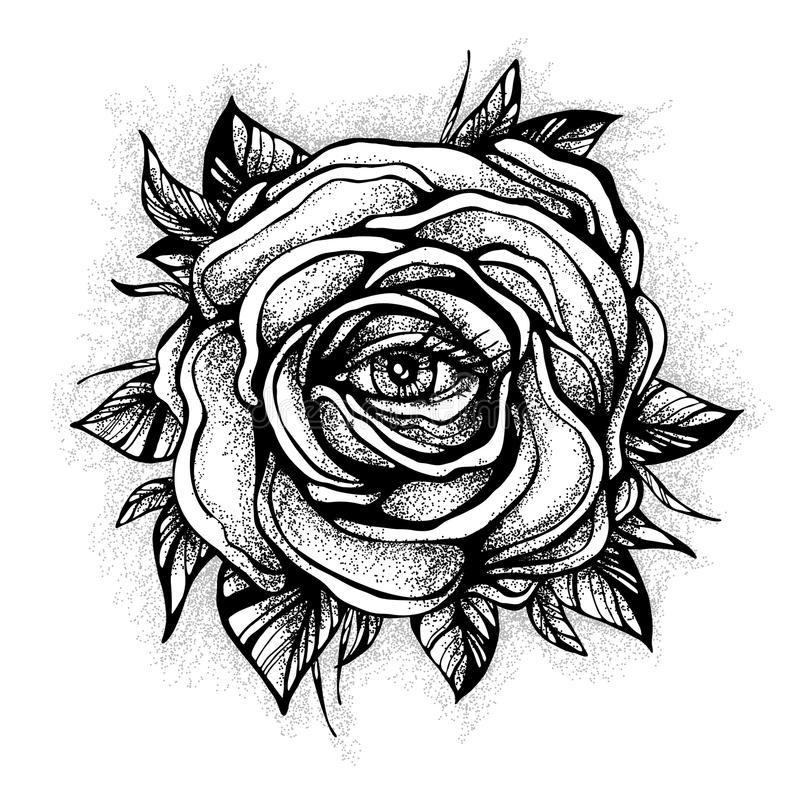 Tattoo Designs Background: Blackwork Tattoo Flash. Rose Flower. Highly Detailed