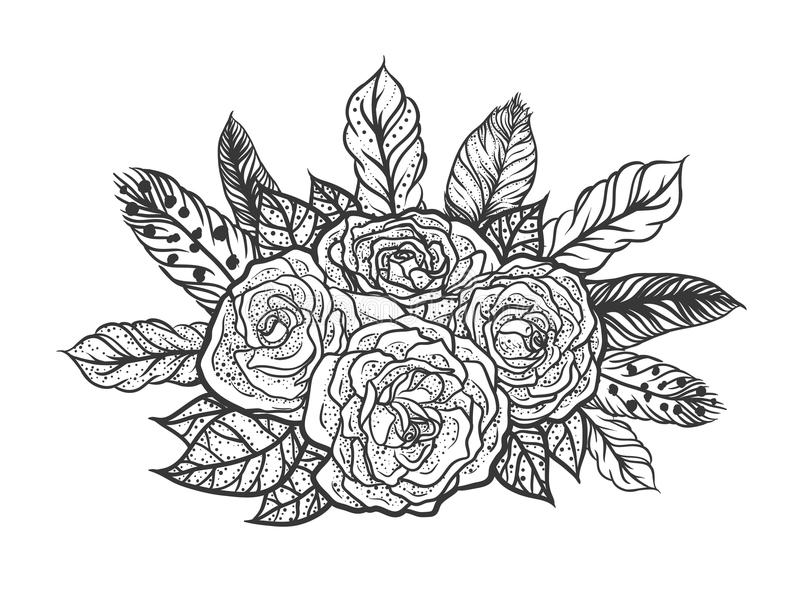 Blackwork tattoo of rose and feathers bouquet. Very detailed vector illustration. Boho design for print, posters, t-shirts stock illustration