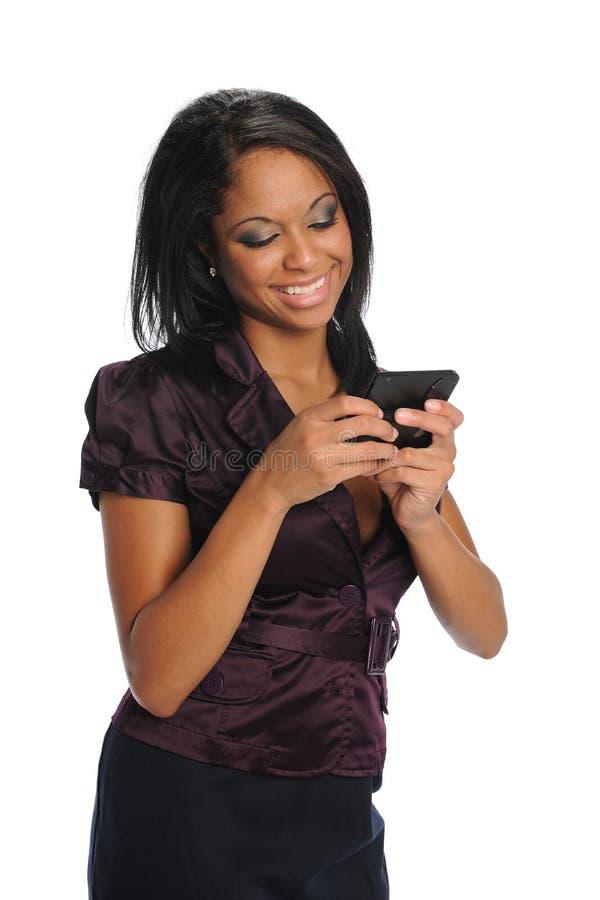 blacl messanging teksta kobiety potomstwa obraz stock