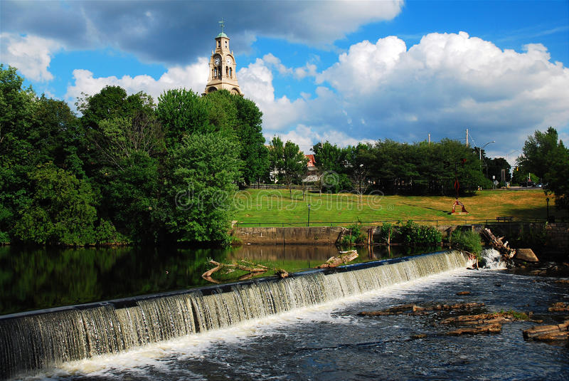The Blacstone River. The industrialization of America began along the Blackstone River in Pawtucket Rhode Island when engineers turned to the river to power royalty free stock image