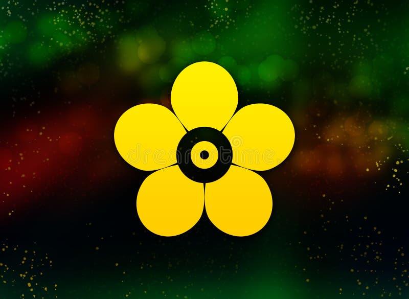 Blad abstracte bokeh donkere achtergrond van het bloempictogram stock illustratie