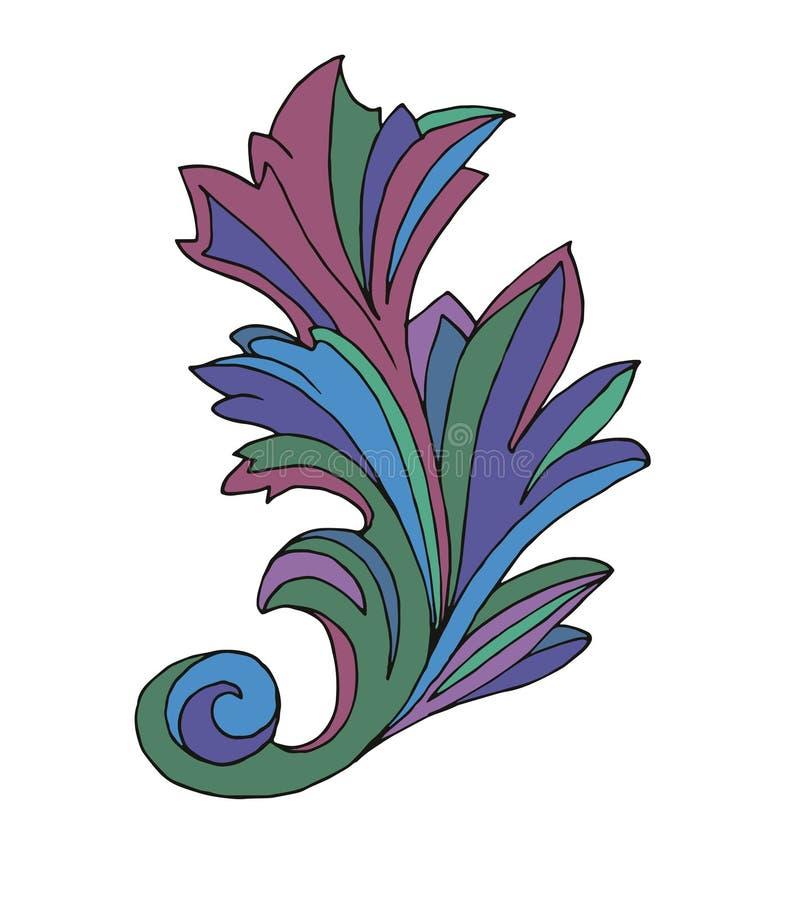 blad Afzonderlijk element op witte achtergrond Abstractie Voor ontwerp Heldere kleur stock illustratie