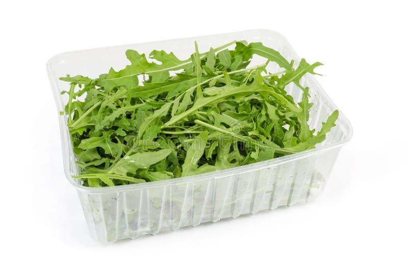 blad av färsk arugula i plastbehållare på vit bakgrund royaltyfri foto