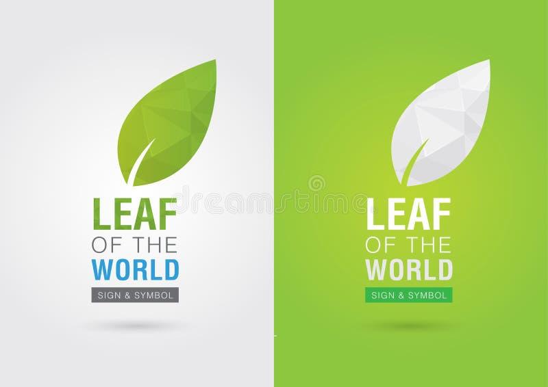 Blad av världen Eco volontärsymbol För grön affärssoluti stock illustrationer