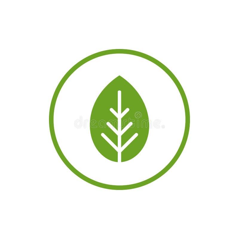 Blad för tecknad filmlägenhetgräsplan i cirkel med grön kontur Eco symbol Isolerat på vit också vektor för coreldrawillustration vektor illustrationer