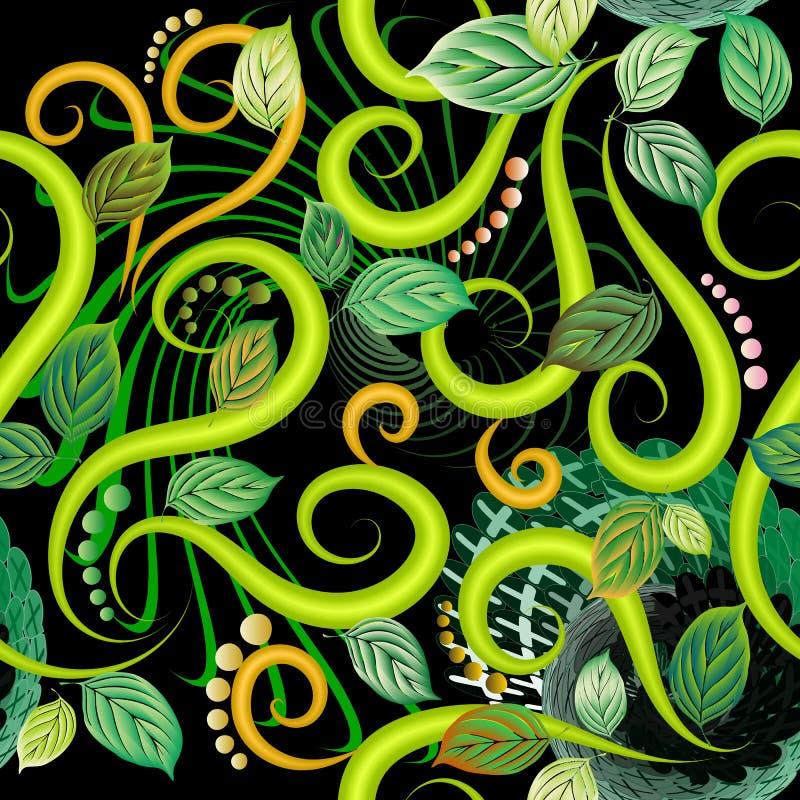 Blad geweven 3d vector naadloos patroon Bloemen sier moderne achtergrond royalty-vrije illustratie
