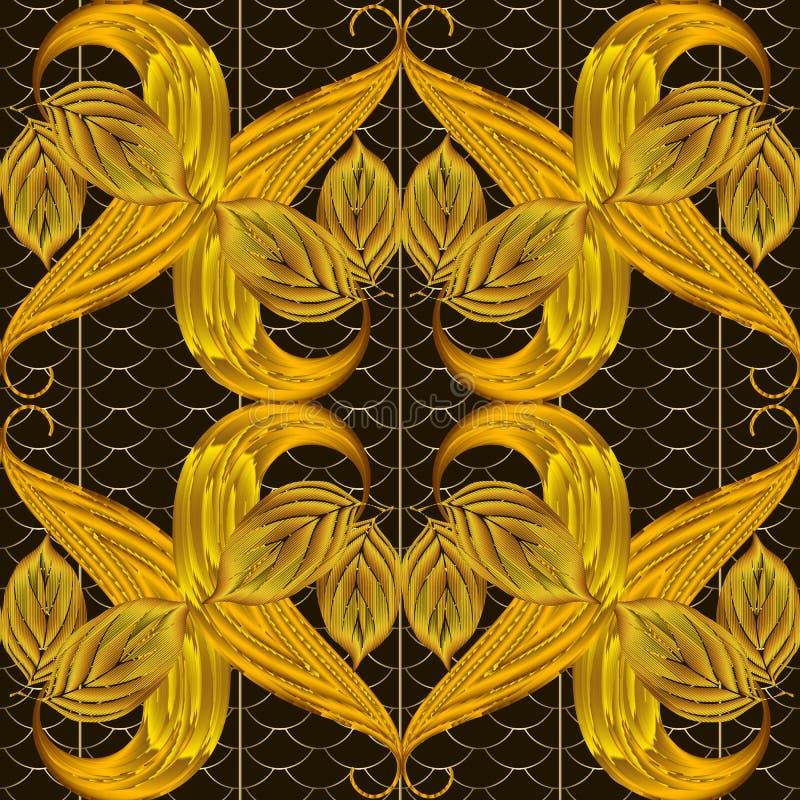 Blad geweven 3d vector naadloos patroon De sierachtergrond van de herfstbladgouden Uitstekend bloemenoppervlakteornament met gewe vector illustratie