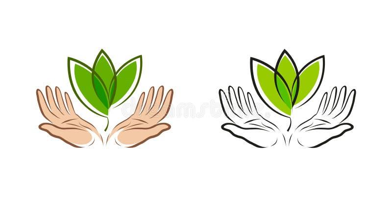 Blad in handen, embleem Natuurlijk, organisch etiket, aardsymbool Vector illustratie stock illustratie